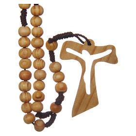 Olive wood rosary round beads 7 mm with tau cross s2