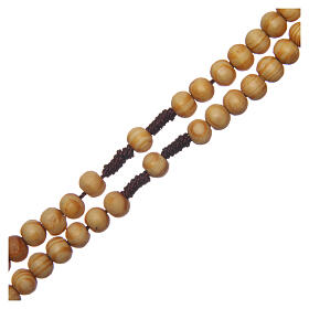 Olive wood rosary round beads 7 mm with tau cross s3