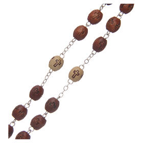 Olive wood rosary round beads 7 mm with tau cross s7