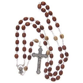 Olive wood rosary round beads 7 mm with tau cross s8