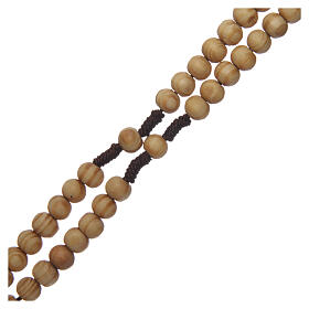 Olive wood rosary round beads 7 mm with tau cross s11