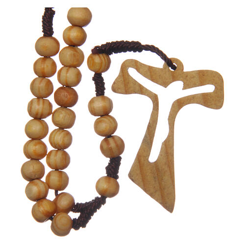 Olive wood rosary round beads 7 mm with tau cross 1