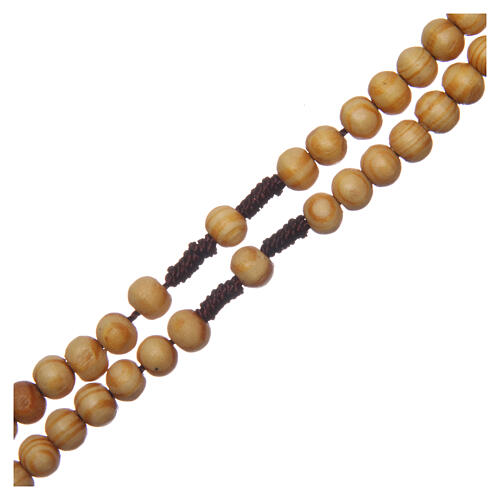 Olive wood rosary round beads 7 mm with tau cross 3