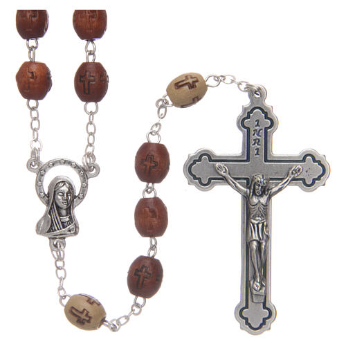 Olive wood rosary round beads 7 mm with tau cross 5
