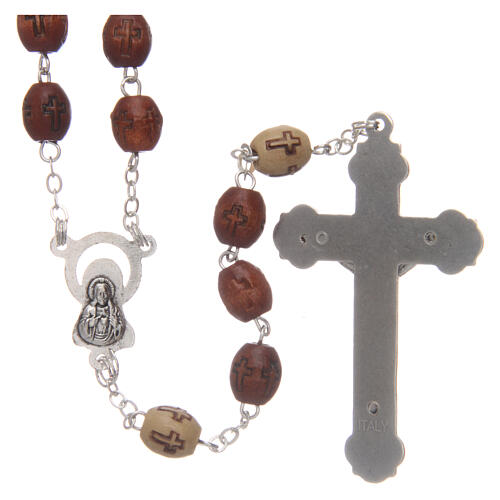 Olive wood rosary round beads 7 mm with tau cross 6
