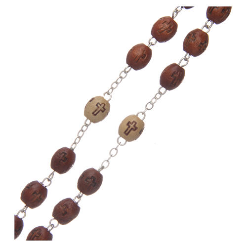 Olive wood rosary round beads 7 mm with tau cross 7