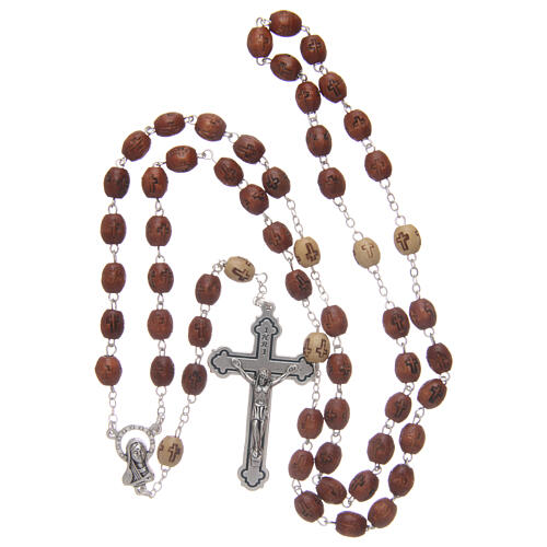 Olive wood rosary round beads 7 mm with tau cross 8