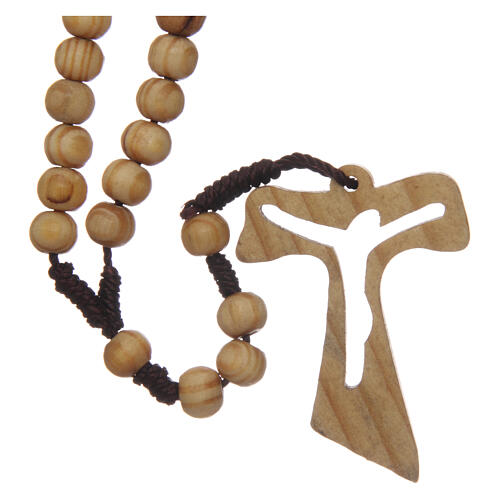 Olive wood rosary round beads 7 mm with tau cross 9