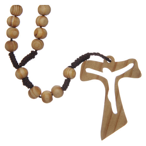 Olive wood rosary round beads 7 mm with tau cross 10