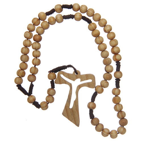 Olive wood rosary round beads 7 mm with tau cross 12