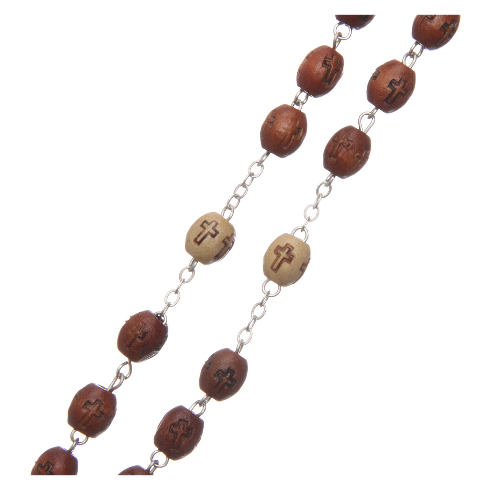 Natural wood rosary with engraving 6 mm metal links 4