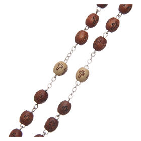 Natural wood rosary with engraving 6 mm metal links s3