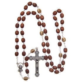 Natural wood rosary with engraving 6 mm metal links s4