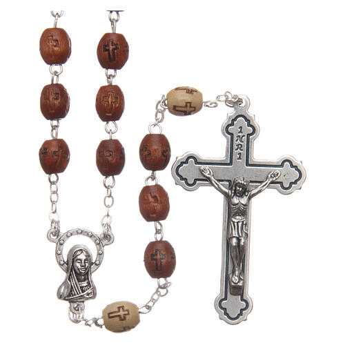 Natural wood rosary with engraving 6 mm metal links 1