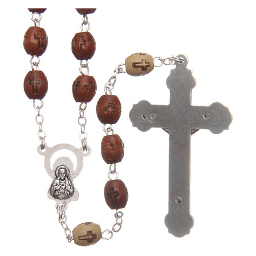 Natural wood rosary with engraving 6 mm metal links 2