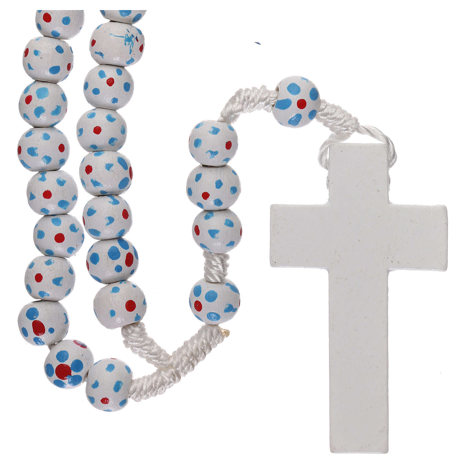 Wood rosary flower white beads 7 mm and cord 4