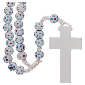 Wood rosary flower white beads 7 mm and cord s2