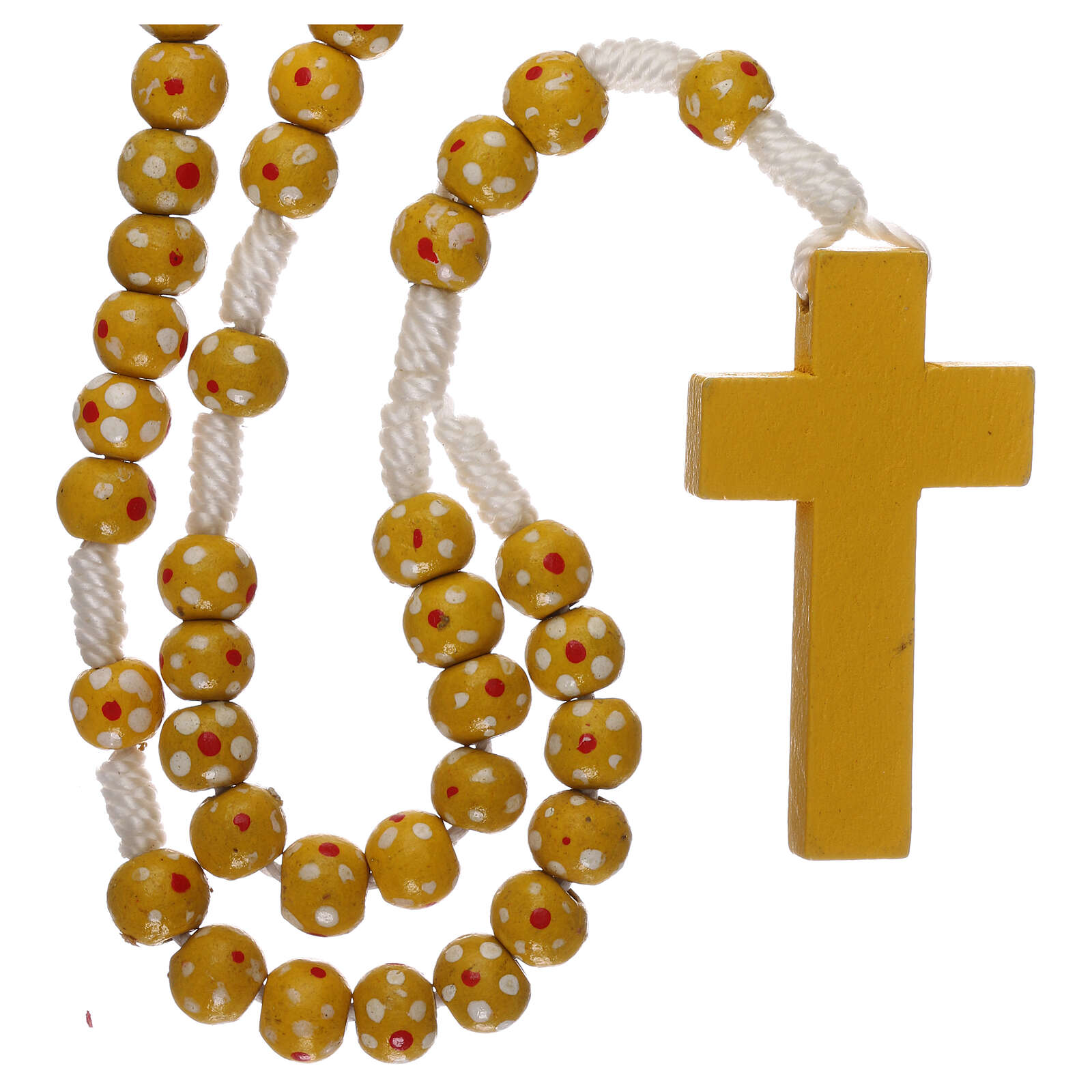 Wood rosary flower yellow beads 7 mm and cord 4