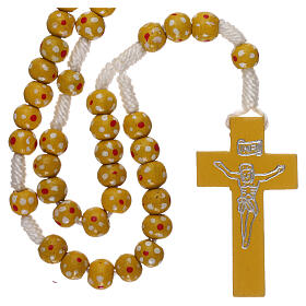 Wood rosary flower yellow beads 7 mm and cord s1
