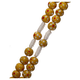 Wood rosary flower yellow beads 7 mm and cord s3