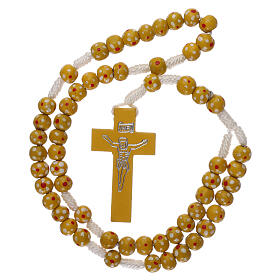 Wood rosary flower yellow beads 7 mm and cord s4