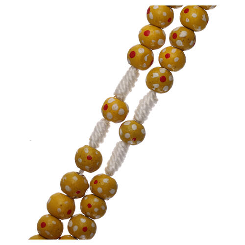 Wood rosary flower yellow beads 7 mm and cord 3