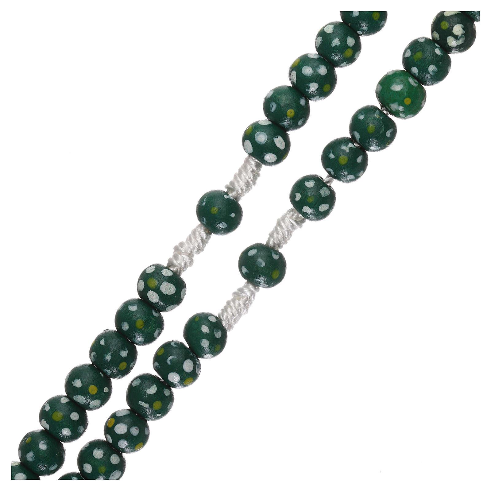 Rosario legno fiore legatura corda diametro mm 7 verde 4