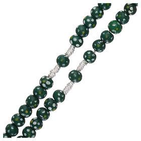 Rosario legno fiore legatura corda diametro mm 7 verde s3