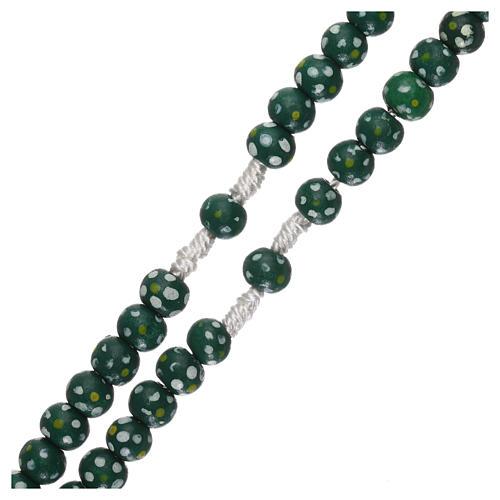 Rosario legno fiore legatura corda diametro mm 7 verde 3