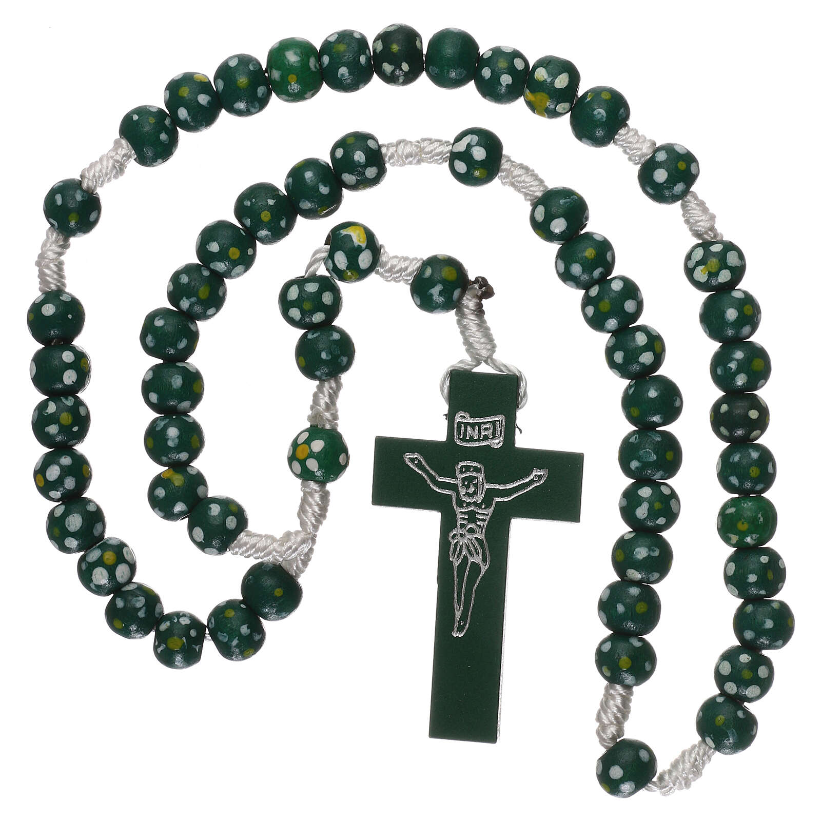 Wood rosary flower green beads 7 mm and cord 4