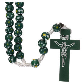 Wood rosary flower green beads 7 mm and cord s1