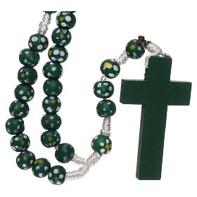 Wood rosary flower green beads 7 mm and cord s2
