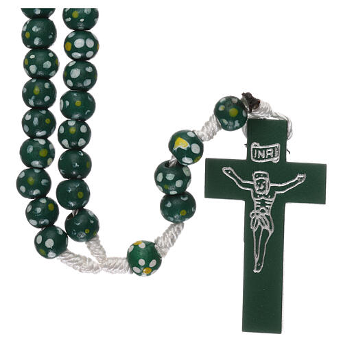 Wood rosary flower green beads 7 mm and cord 1