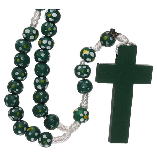 Wood rosary flower green beads 7 mm and cord 2