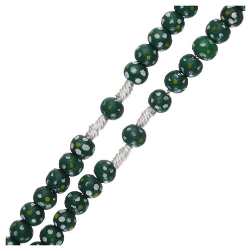 Wood rosary flower green beads 7 mm and cord 3