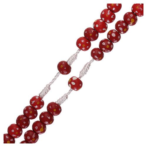 Chapelet en corde grains bois rouge fleur 7 mm 3