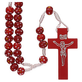 Wood rosary flower red beads 7 mm and cord s1