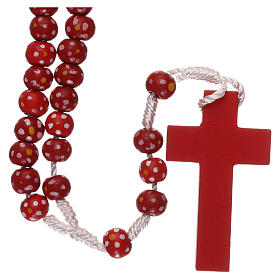 Wood rosary flower red beads 7 mm and cord s2