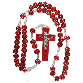 Wood rosary flower red beads 7 mm and cord s4