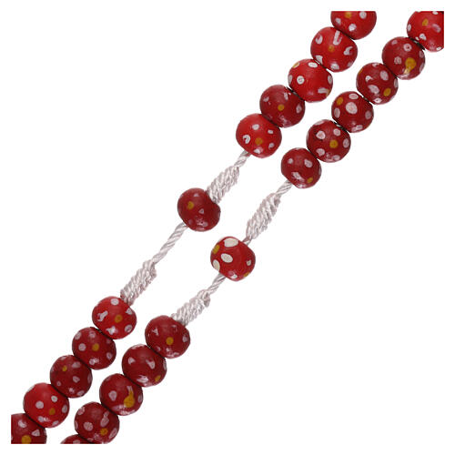 Wood rosary flower red beads 7 mm and cord 3