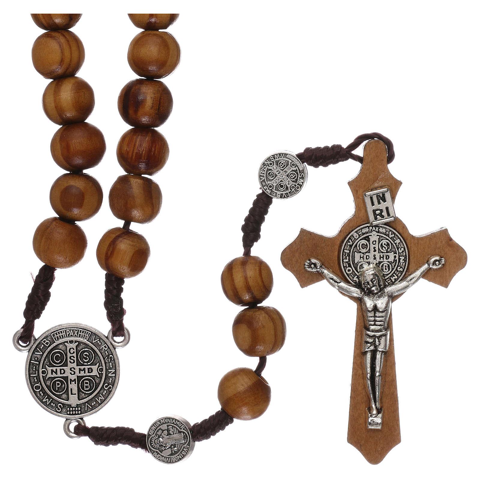 Rosario madera olivo con medallas y granos mm 9 4
