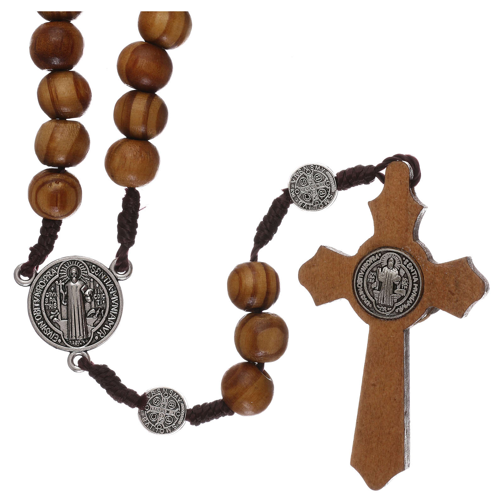 Rosario legno ulivo con medaglie e grani mm 9 4