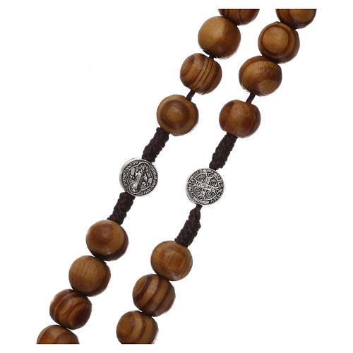 Rosario legno ulivo con medaglie e grani mm 9 3