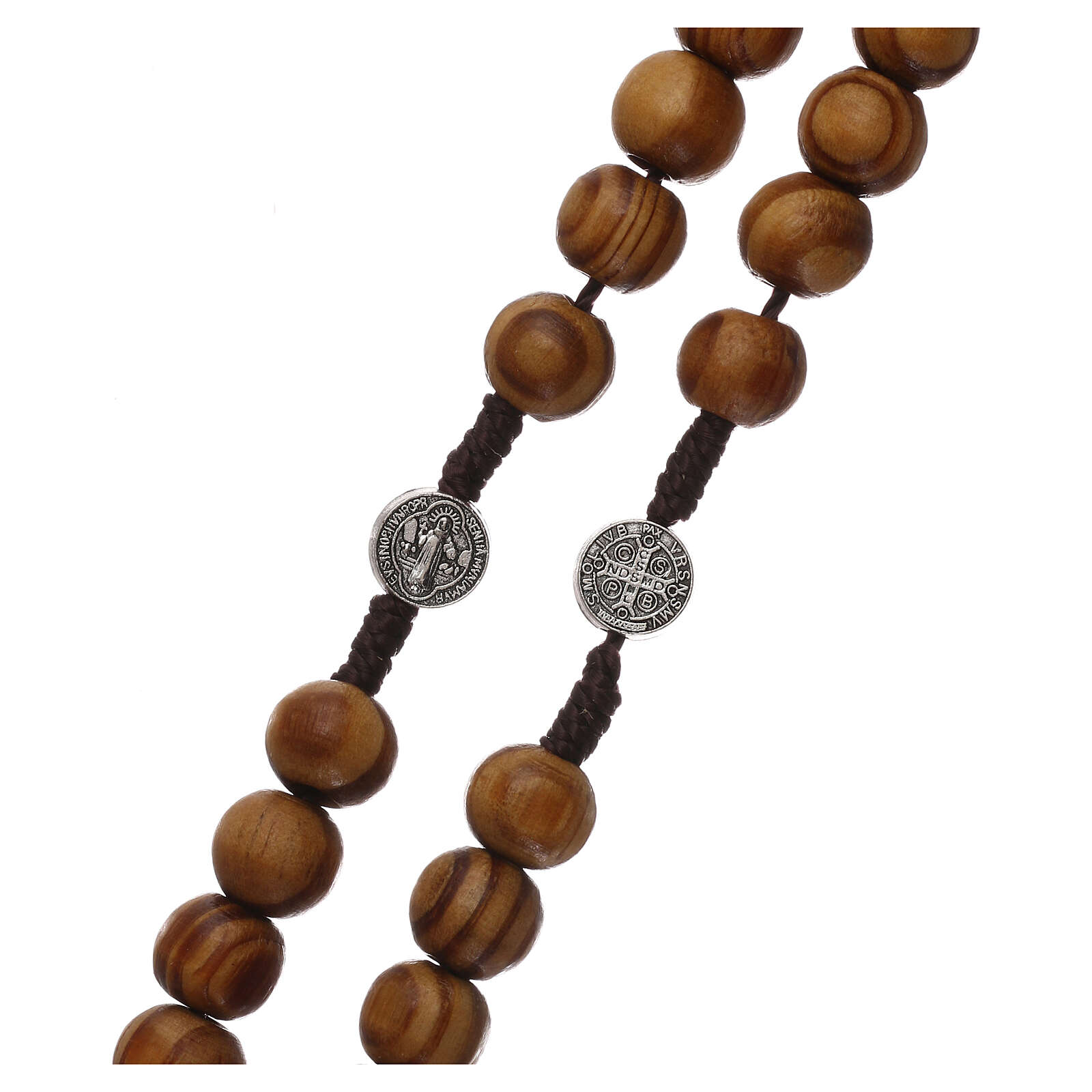 Terço madeira oliveira com medalhas e contas 9 mm 4