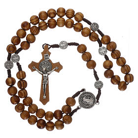 Olive wood rosary with medals and beads 9 mm s4