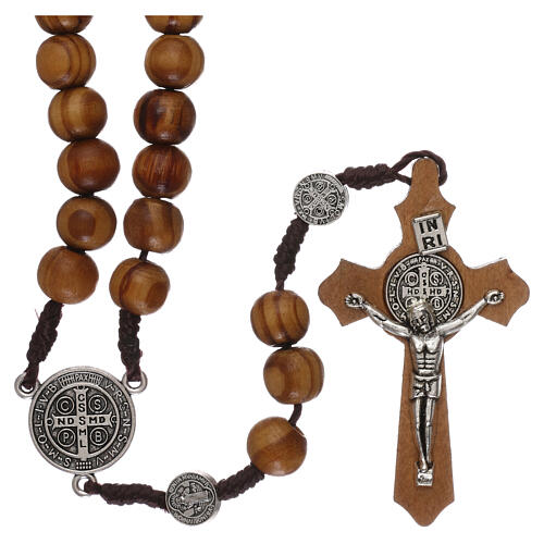 Olive wood rosary with medals and beads 9 mm 1