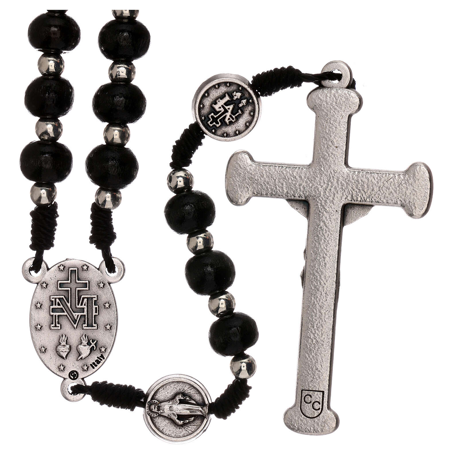 Miraculous Medal rosary black wood lobster clasp 4 mm 4