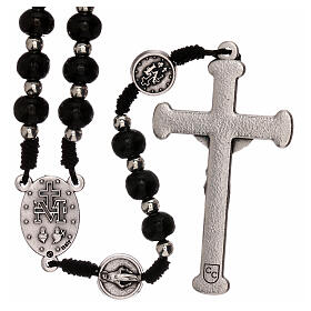 Miraculous Medal rosary black wood lobster clasp 4 mm s2