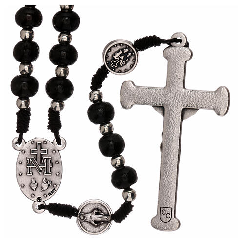 Miraculous Medal rosary black wood lobster clasp 4 mm 2