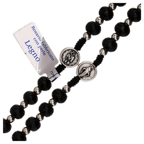 Miraculous Medal rosary black wood lobster clasp 4 mm 3
